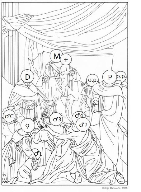 Sint-Paulus Rozenkransmadonna Caravaggio schema