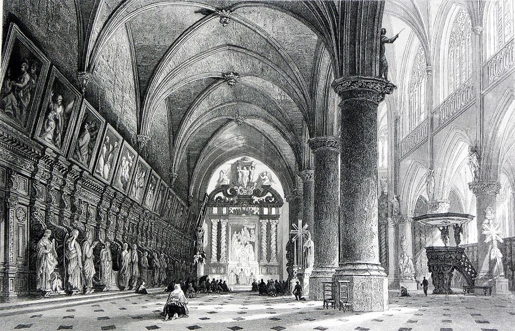 Sint-Paulus - Noordbeuk (en barokke preekstoel), gravure, T. Allom, J.C. Varell (vóór 1874)
