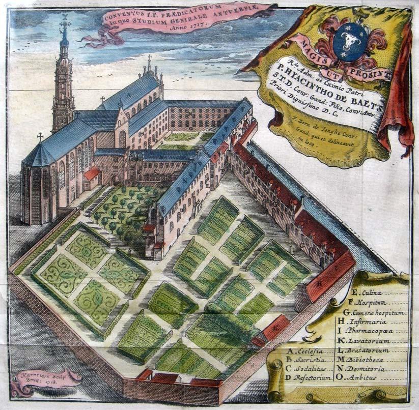 Het Antwerpse dominicanenklooster, gravure, Jacob Harrewijn, 1718, in Bernardus De Jonghe, Belgium Dominicanum, 1719